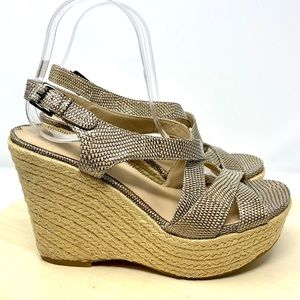 Via Spiga Eugena wedge espadrille 8.5 animal print